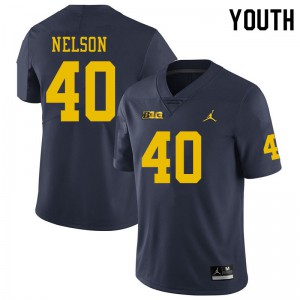 Michigan Wolverines #40 Ryan Nelson Youth Navy College Football Jersey 272701-368