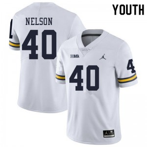 Michigan Wolverines #40 Ryan Nelson Youth White College Football Jersey 560264-971