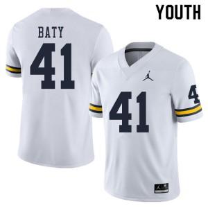 Michigan Wolverines #41 John Baty Youth White College Football Jersey 649931-362