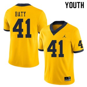 Michigan Wolverines #41 John Baty Youth Yellow College Football Jersey 394092-974