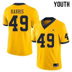 Michigan Wolverines #49 Keshaun Harris Youth Yellow College Football Jersey 385313-673