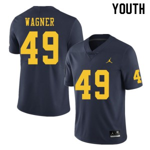 Michigan Wolverines #49 William Wagner Youth Navy College Football Jersey 342649-868