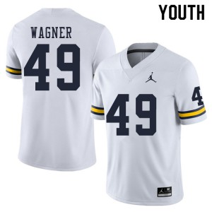 Michigan Wolverines #49 William Wagner Youth White College Football Jersey 661328-633