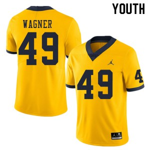 Michigan Wolverines #49 William Wagner Youth Yellow College Football Jersey 279602-700
