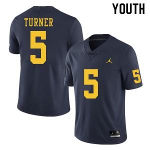 Michigan Wolverines #5 DJ Turner Youth Navy College Football Jersey 789183-525