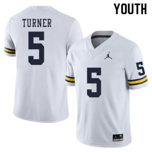 Michigan Wolverines #5 DJ Turner Youth White College Football Jersey 455601-159