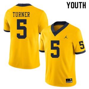 Michigan Wolverines #5 DJ Turner Youth Yellow College Football Jersey 440573-323