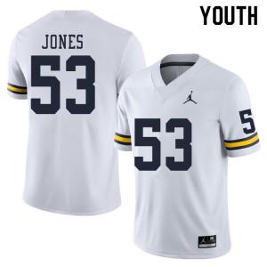 Michigan Wolverines #53 Trente Jones Youth White College Football Jersey 531436-119