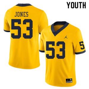 Michigan Wolverines #53 Trente Jones Youth Yellow College Football Jersey 378697-890