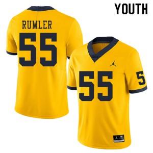 Michigan Wolverines #55 Nolan Rumler Youth Yellow College Football Jersey 503784-734