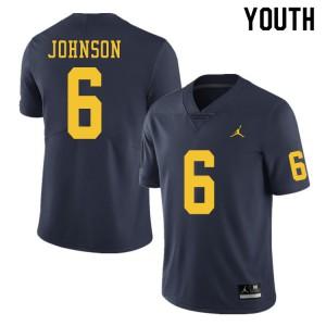 Michigan Wolverines #6 Cornelius Johnson Youth Navy College Football Jersey 260369-782