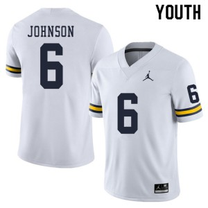 Michigan Wolverines #6 Cornelius Johnson Youth White College Football Jersey 732333-453