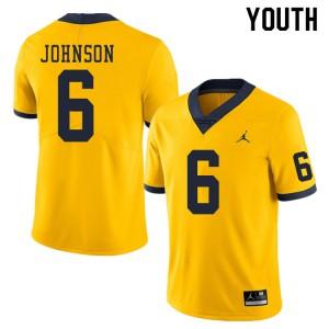 Michigan Wolverines #6 Cornelius Johnson Youth Yellow College Football Jersey 567418-672