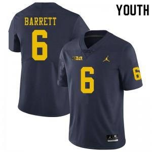 Michigan Wolverines #6 Michael Barrett Youth Navy College Football Jersey 976256-163