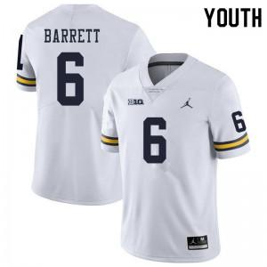 Michigan Wolverines #6 Michael Barrett Youth White College Football Jersey 491886-513
