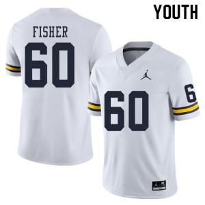 Michigan Wolverines #60 Luke Fisher Youth White College Football Jersey 326158-515