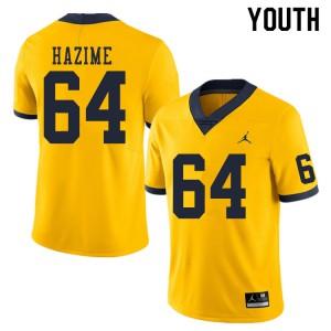 Michigan Wolverines #64 Mahdi Hazime Youth Yellow College Football Jersey 210659-793