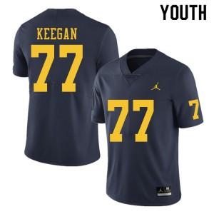 Michigan Wolverines #77 Trevor Keegan Youth Navy College Football Jersey 561882-326