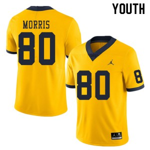 Michigan Wolverines #80 Mike Morris Youth Yellow College Football Jersey 628957-787