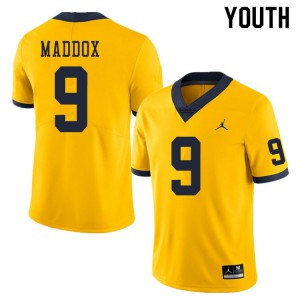 Michigan Wolverines #9 Andy Maddox Youth Yellow College Football Jersey 815484-672