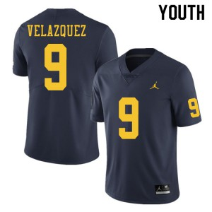 Michigan Wolverines #9 Joey Velazquez Youth Navy College Football Jersey 761001-234