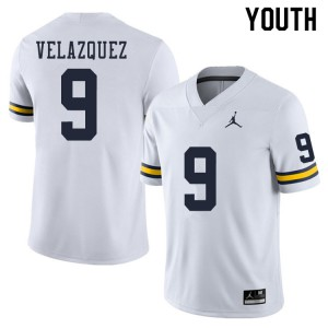 Michigan Wolverines #9 Joey Velazquez Youth White College Football Jersey 377932-784