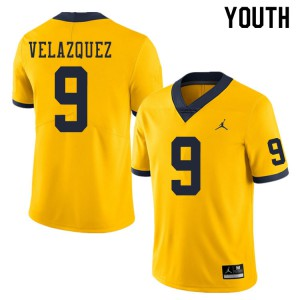 Michigan Wolverines #9 Joey Velazquez Youth Yellow College Football Jersey 224407-735