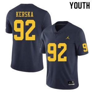 Michigan Wolverines #92 Karl Kerska Youth Navy College Football Jersey 803357-217