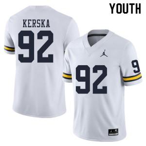 Michigan Wolverines #92 Karl Kerska Youth White College Football Jersey 856577-485