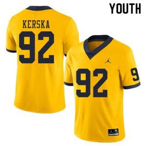 Michigan Wolverines #92 Karl Kerska Youth Yellow College Football Jersey 608734-771