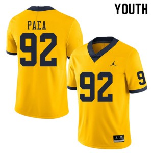 Michigan Wolverines #92 Phillip Paea Youth Yellow College Football Jersey 115010-679