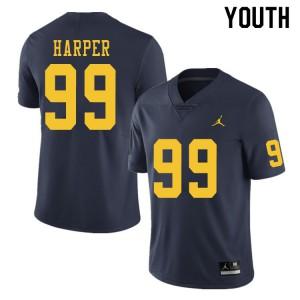 Michigan Wolverines #99 Trey Harper Youth Navy College Football Jersey 806337-489