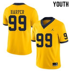 Michigan Wolverines #99 Trey Harper Youth Yellow College Football Jersey 692189-356