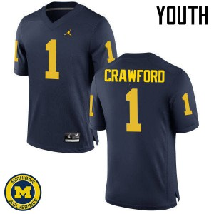 Michigan Wolverines #1 Dylan Crawford Youth Navy College Football Jersey 693732-573