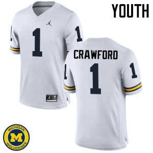 Michigan Wolverines #1 Dylan Crawford Youth White College Football Jersey 741966-247