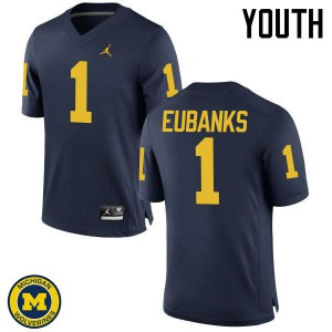 Michigan Wolverines #1 Nick Eubanks Youth Navy College Football Jersey 169260-879