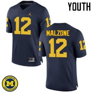 Michigan Wolverines #12 Alex Malzone Youth Navy College Football Jersey 569398-670