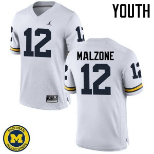 Michigan Wolverines #12 Alex Malzone Youth White College Football Jersey 451455-260