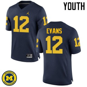 Michigan Wolverines #12 Chris Evans Youth Navy College Football Jersey 604777-841