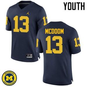 Michigan Wolverines #13 Eddie McDoom Youth Navy College Football Jersey 986677-857