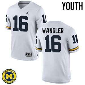 Michigan Wolverines #16 Jack Wangler Youth White College Football Jersey 298168-491