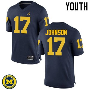 Michigan Wolverines #17 Ron Johnson Youth Navy College Football Jersey 123629-326