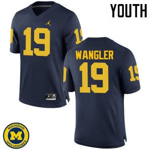 Michigan Wolverines #19 Jared Wangler Youth Navy College Football Jersey 934941-662
