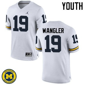 Michigan Wolverines #19 Jared Wangler Youth White College Football Jersey 501343-581