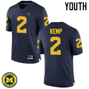 Michigan Wolverines #2 Carlo Kemp Youth Navy College Football Jersey 562875-590