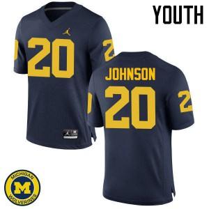Michigan Wolverines #20 Drake Johnson Youth Navy College Football Jersey 547486-180