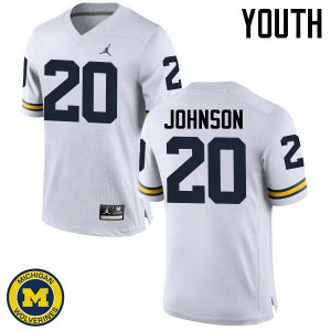 Michigan Wolverines #20 Drake Johnson Youth White College Football Jersey 930584-750