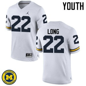 Michigan Wolverines #22 David Long Youth White College Football Jersey 167788-938