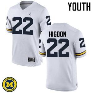 Michigan Wolverines #22 Karan Higdon Youth White College Football Jersey 614574-812