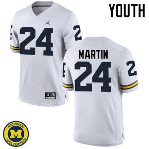 Michigan Wolverines #24 Jake Martin Youth White College Football Jersey 514165-828
